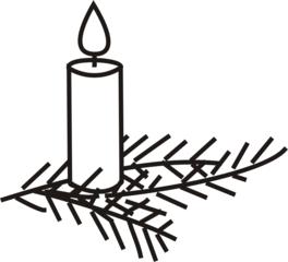 Kerze mit Tannenzweig - Advent, Kerze, Kerzenlicht, Flamme, Feuer, Weihnachten, brennen, Licht, heiß, hell, leuchten, Lichtquelle, warm, tropfen, Wachs, fließen, hell, Zweig, Tannenzweig, Anlaut K, Illustration, feierlich, gemütlich