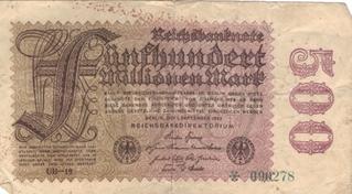 500 Millionen Mark - Mark, Geld, Geldschein, Note, Geldnote, Banknote, Papiergeld, Inflation, inflationär, 1923, Reichsbank, Reichsbanknote, Geldentwertung, Wertverlust, Millionen, 500 Millionen, 500000000