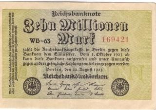 10 Mio. Schein - Mark, Geld, Geldschein, Note, Geldnote, Banknote, Papiergeld, Inflation, inflationär, 1923, Reichsbank, Reichsbanknote, Geldentwertung, Wertverlust, Millionen, 10 Millionen, 10000000