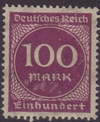 100 Mark Briefmarke - Mark, Inflation, inflationär, Geldentwertung, Wertverlust, 1923, Briefmarke, Deutsches Reich 100 Mark