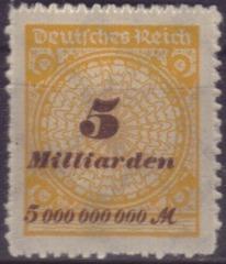 5 Mrd. Mark Briefmarke - Mark, Inflation, inflationär, Geldentwertung, Wertverlust, 1923, Briefmarke, Deutsches Reich, Milliarde, 5000000000
