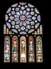 Kirchenfenster - Kirchenfenster, Rosette, Fensterrose, Kirchenfenster, Chartres, Kathedrale, Glasfenster, Glaskunst, bunt, Kreis