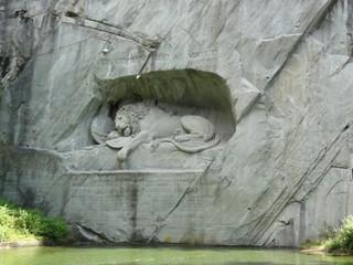 Löwendenkmal - Luzern, Schweiz, Löwendenkmal, Löwe, traurig, sterben, Kriegerdenkmal, Allegorie