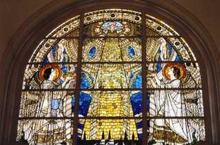 Kirchenfenster im Hamburger Michel - Hamburg, Sankt Michael, Hamburger Michel, Kirchenfenster, Engel, Taube, Heiliger Geist, Kuppel, Kirche