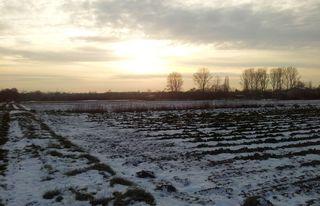 Winterlandschaft - Winter, Winterlandschaft, Schnee, Schneedecke, Feld, Acker, Ackerlandschaft, Furchen, Meditation, Abendruhe
