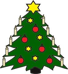 Weihnachtsbaum - Christbaum, Weihnachtsbaum, Kugeln, Sterne, Kerzen, Weihnachtsstern, Tanne, Tannenbaum, Weihnachten, Anlaut C, schmücken, Heiligabend