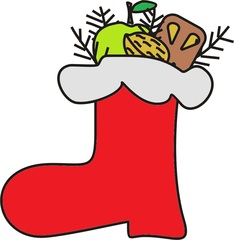 Nikolausstiefel - Nikolaus, Stiefel, Weihnachten, Advent, Vorweihnachtszeit, Krampus, Anlaut N, gefüllt, 6., Dezember, Gabe, Geschenk