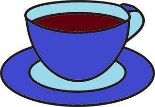 Tasse blau - Tasse, Teller, Kaffee, Kaffeetasse, trinken, Anlaut T, Geschirr, Wörter mit Doppelkonsonanten