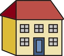Haus - Haus, Häuser, wohnen, Wohnung, Tür, Fenster, Dach, Anlaut H, Gebäude, Wohnhaus