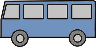 Bus blau - Bus, Kleinbus, Schulbus, Anlaut B, Schülertransport