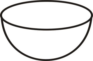 Schüssel - Müslischüssel, Geschirr, Anlaut Sch, Gefäß, leer, kochen, backen, Küchengerät, Küchenhelfer, Küchenutensilie, Zeichnung, Wörter mit ü, Wörter mit Doppelkonsonanten