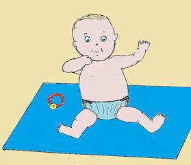 Baby #1 - Baby, Kleinkind, Kind, sitzen, Decke, Zeichnung, Illustration, Wörter mit y