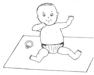 Baby #3  - Baby, Kleinkind, Kind, sitzen, Decke, Zeichnung, Illustration, Wörter mit y