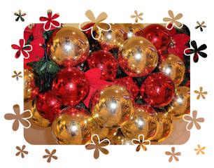 Weihnachtskugeln - Weihnachten, Weihnachtskugeln, Kugel, Weihnachtsdekoration, gold, rot, glänzen, Effektbild, Weihnachtsgruß, christmas