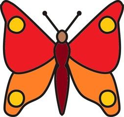 Schmetterling Rottöne - Schmetterling, Falter, fliegen, Anlaut Sch, Illustration, Symmetrie, rot, orange
