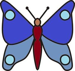 Schmetterling Blautöne - Schmetterling, Falter, fliegen, Anlaut Sch, Illustration, Symmetrie, blau