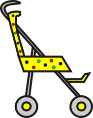 Buggy mit Punkten - Buggy, Transport, sportwagen, schieben, Kinderwagen, Kind, Anlaut B