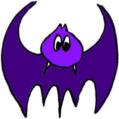 Fledermaus#2  lila - Zeichnung, Anlaut F, flattern, gruselig, Halloween, Tiere, fliegen, Säugetier, Nacht