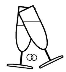 Sekt #1 - Sekt, Glas, Gläser, Prost, anstoßen, trinken, Getränk, Alkohol, Feier, Verlobung, verloben, Hochzeit, heiraten, Zweisamkeit, Liebe, lieben, prickeln, Verabredung, Zeichnung, Illustration, zwei, Ring, Ringe, Eheringe, Verlobungsringe