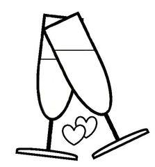 Sekt #2 - Sekt, Glas, Gläser, Prost, anstoßen, trinken, Getränk, Alkohol, Feier, Verlobung, verloben, Hochzeit, heiraten, Zweisamkeit, Liebe, lieben, prickeln, Verabredung, Zeichnung, Illustration, zwei, Herzen, Herz, verliebt, Love