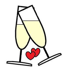 Sekt #3 - Sekt, Glas, Gläser, Prost, anstoßen, trinken, Getränk, Alkohol, Feier, Verlobung, verloben, Hochzeit, heiraten, Zweisamkeit, Liebe, lieben, prickeln, Verabredung, Zeichnung, Illustration, zwei, zwei, Herzen, Herz, verliebt, Love