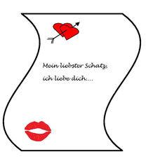 Liebesbrief - Liebesbrief, Liebe, Brief, Gefühle, Love, Glück, verliebt, schreiben, Illustration, Zeichnung, Post, Herz, Kuss, Kussmund, Symbol, Gruß