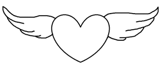 Herz #12 - Herz, Liebe, Love, verliebt, Zeichnung, Illustration, Glück, Gefühl, Symbol, Flügel, fliegen, geflügelt, schweben