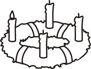 Adventskranz 1 - Adventskranz, Kerze, Kerzen, brennen, Advent, eins, vier, drei, minus, Menge, Kranz, Anlaut A, Anlaut K, Wörter mit v