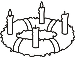 Adventskranz 2 - Adventskranz, Kerze, Kerzen, brennen, Advent, zwei, vier, Menge, minus, Kranz, Anlaut A, Anlaut K, Wörter mit v