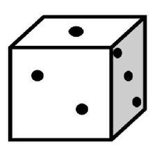 Würfel #1 - Würfel, würfeln, werfen, Spiele, spielen, Augenzahl, Zahl, Zahlen, eins, zwei, drei, Wahrscheinlichkeit, Punkt, Punkte, Kubus, Hexaeder, Körper, geometrisch, 6 Seiten, Kanten, Ecken, Quadrate, Zufall, Illustration, Zeichnung, rechnen, Glück