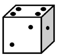 Würfel #4 - Würfel, würfeln, werfen, Spiele, spielen, Augenzahl, Zahl, Zahlen, eins, zwei, vier, Wahrscheinlichkeit, Punkt, Punkte, Kubus, Hexaeder, Körper, geometrisch, 6 Seiten, Kanten, Ecken, Quadrate, Zufall, Illustration, Zeichnung, rechnen, Glück