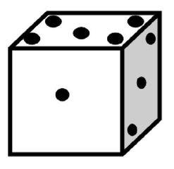 Würfel #5 - Würfel, würfeln, werfen, Spiele, spielen, Augenzahl, Zahl, Zahlen, eins, drei, fünf, Wahrscheinlichkeit, Punkt, Punkte, Kubus, Hexaeder, Körper, geometrisch, 6 Seiten, Kanten, Ecken, Quadrate, Zufall, Illustration, Zeichnung, rechnen, Glück