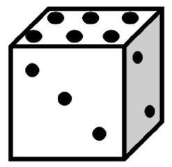 Würfel #6 - Würfel, würfeln, werfen, Spiele, spielen, Augenzahl, Zahl, Zahlen, zwei, drei, sechs, Wahrscheinlichkeit, Punkt, Punkte, Kubus, Hexaeder, Körper, geometrisch, 6 Seiten, Kanten, Ecken, Quadrate, Zufall, Illustration, Zeichnung, rechnen, Glück