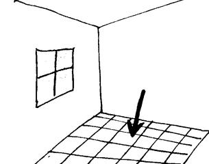 Fußboden - Zimmerecke, Ecke, Raum, Klassenraum, Zimmer, Haus, Wörter mit ß