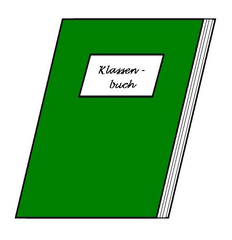 Klassenbuch - Klassenbuch, Eintrag, Verspätung, Hausaufgaben, Namen, Stundenplan, grün, Dokument, Klasse, Zeichnung, Illustration