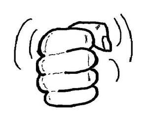 Faust - sw - Faust, Hand, Finger, geballt, Daumen, kraftvoll, Kraft, kräftig, laut, Krach, krachend