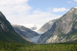 Gletscherzunge Nigardsbreen, Norwegen - Gletscherzunge, Nigardsbreen, Jostedalsbreen, Gletschereis, Klimaerwärmung, Gletscher, Trogtal, Gletscherschrammen, Gebirge, Berge