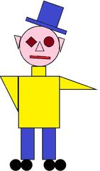 Geo-Männchen farbig - Mann, Männchen, Figur, Geometrie, Zeichnung, Illustration, Kreis, Rechteck, Quadrat, Dreieck, Kante, Winkel, rechter Winkel, Gesicht, Körper, Form, Formen
