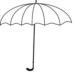 Regenschirm s/w - Regenschirm, Schirm, Regen, Zeichnung, Illustration, Wetter, Schauer, Schutz, Anlaut R, Anlaut Sch