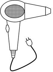 Fön s/w - Fön, Haartrockner, hairdryer, Haare, trocknen, Frisur, Friseur, Bad, elektrisch, Heißluft, fönen, Zeichnung, Illustration, Kabel, Stecker, Wörter mit ö