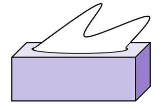 Papiertaschentücher farbig - Papiertaschentücher, Zellstoff, Taschentuch, Kosmetik, Kosmetiktuch, Kleenex, Tempo, Box, Karton, Bad, Pflege, Quader, Kante, Winkel, Zeichnung, Illustration, lila, violett, flieder, weiß