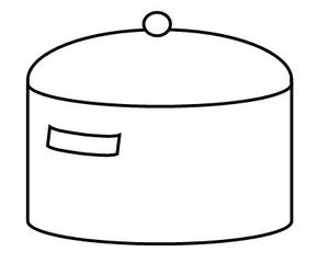 Kochtopf mit Deckel - Kochtopf, Topf, Deckel, kochen, garen, Herd, Zylinder, Volumen, Küche, Haushalt, Illustration, Zeichnung