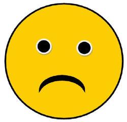 Smiley #5 - sehr traurig - Smiley, Zeichen, Zeichnung, Illustration, Button, Bewertung, Symbol, traurig, nicht so gut, üben, besser machen