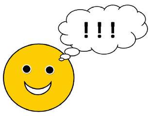 Smiley #7 - sehr froh  mit Sprechblase(!) - Smiley, Zeichen, Zeichnung, Illustration, Button, Symbol, Achtung, Idee, Sprechblase, beachten, lachen, Freude