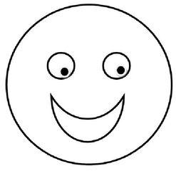 Smiley #17 lachend s/w - Smiley, Zeichnung, Illustration, Symbol, Button, lachen, lachend, froh, stolz, fröhlich, Lob, Anerkennung, leicht, einfach