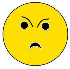 Smiley #20 böse, ärgerlich - Smiley, Symbol, Button, Stimmung, Gefühl, Zeichnung, Illustration, böse, verärgert, ärgerlich, Wörter mit ö