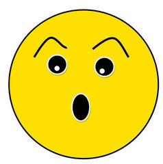 Smiley #21 erstaunt, erschrocken - Smiley, Symbol, Button, Stimmung, Gefühl, Zeichnung, Illustration, erstaunt, erschrocken, überrascht, Überraschung