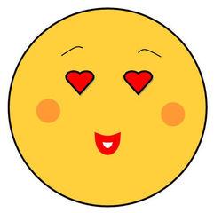 Smiley #24 verliebt - Smiley, Zeichen, Zeichnung, Illustration, Button, Bewertung, Symbol, verliebt, lieb, Liebe, Emotion, Gefühl