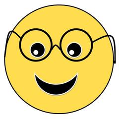 Smiley #25 mit Brille - Smiley, Zeichen, Zeichnung, Illustration, Button, Bewertung, Symbol, Emotion, Gefühl, Brille, sehen, Augen