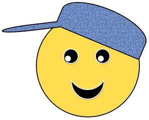 Smiley #26 mit Käppi - Smiley, Zeichen, Zeichnung, Illustration, Button, Bewertung, Symbol, Emotion, Gefühl, Käppi, Mütze, Kappe, blau